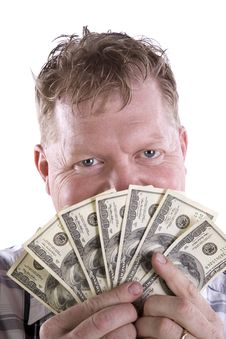 Free Man Peeking From Behind Money Stock Photo - 14296850