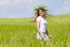 Happy Girl In Green Field Royalty Free Stock Images