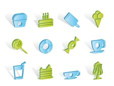 Free Sweet Food And Confectionery Icons Royalty Free Stock Photos - 14297828