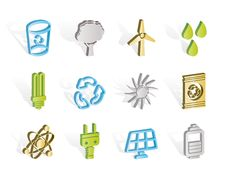 Ecology, Energy And Nature Icons Stock Photography