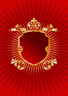 Heraldic Golden Shield On Red Background Royalty Free Stock Image