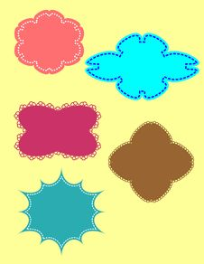 Free Set Of Color Framework As Stickers And Labels Royalty Free Stock Photography - 14298657