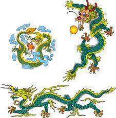 Free Dragon Set Four Royalty Free Stock Image - 14299026