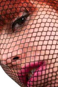 Free Woman Face Through The Gauze Stock Image - 14299621