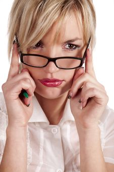 She Thinks About The Prosperous Business Stock Photography