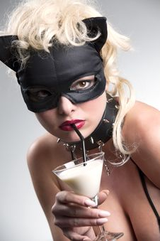 Free Blond Likes Black Cat Drinking Milk Stock Photos - 14299643