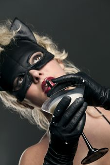 Free Blond Likes Black Cat Drinking Milk Royalty Free Stock Photos - 14299648