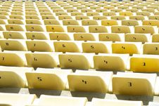 Free Yellow Chairs On A Soccer Stadium Royalty Free Stock Image - 14299866