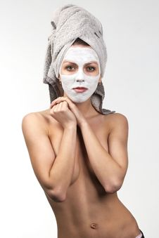Topless Girl With Facial Mask Stock Photo