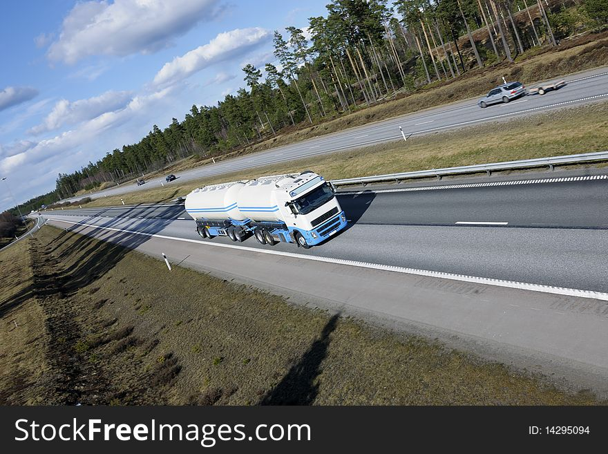 Fuel truck in blurred motion