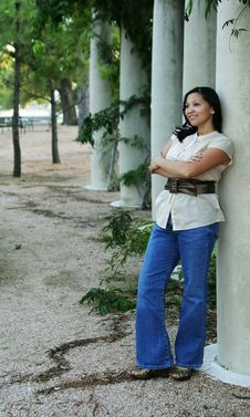 Free Girl Posing With Pillar (Multiuses) 6 Stock Image - 1433531