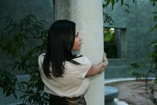 Girl Posing With Pillar (Multiuses) 12 Royalty Free Stock Photos
