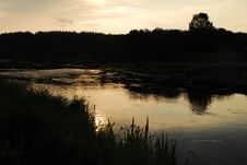 Free Summer Evening. Small River Royalty Free Stock Images - 1434909