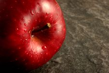 Free Single Red Apple On Grey Stone Stock Photo - 1436120