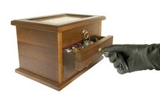 Free Hand In Black Glove Opening Casket With Jewelry Stock Images - 1436414