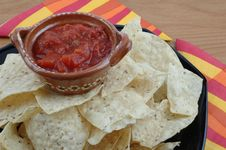 Free Salsa And Tortilla Chips Royalty Free Stock Photography - 1439257