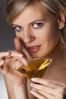 Free Woman With Glass Of Cocktail Royalty Free Stock Photos - 14300098
