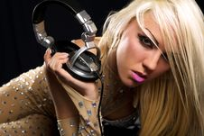 Free Blonde Dj  With A Headphone Royalty Free Stock Photo - 14300225