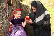 Free Stepmother Gives Poisoned Apple To Snow White Royalty Free Stock Photos - 14301988