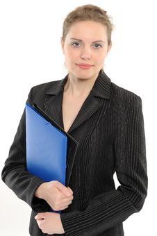 Free Young Businesswoman Holding A Folder Stock Photos - 14302283