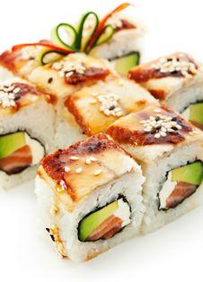 Salmon And Smoked Eel Maki Sushi Stock Photo