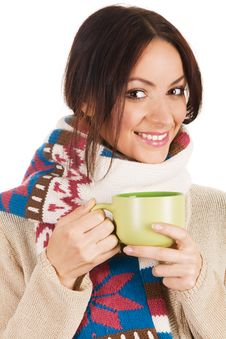Free Young Beautiful Woman With A Cup Of Tea Stock Photo - 14302750