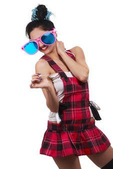 Free Girl Wearing Large Pink Eyeglasses Royalty Free Stock Photography - 14303037