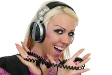 Blonde Dj In Pink Suit With A Headphone Royalty Free Stock Photos