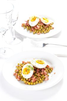 Egg Dish With Ham And Peas Stock Images