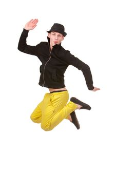 Free Stylish Young Man Jumping Royalty Free Stock Images - 14304659