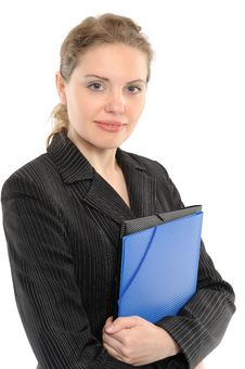 Free Young Businesswoman Holding A Folder Royalty Free Stock Images - 14304719