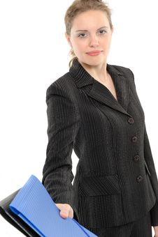 Business Woman, Giving A Folder Royalty Free Stock Photography