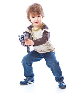 Free Portrait Of Little Boy With Automatic Weapon Royalty Free Stock Photography - 14306767