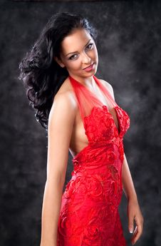 Free Beautiful Glamorous Woman With Red Dress Royalty Free Stock Photography - 14309467