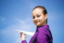 Free Young Caucasian Girl With Paper Plane In The Hand Stock Image - 14309691