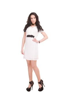 Beautiful Model In  Dress On White Stock Photography