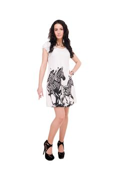 Beautiful Model In  Dress On White Royalty Free Stock Photography