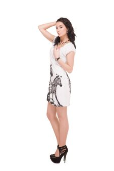 Free Beautiful Model In  Dress On White Stock Image - 14309731