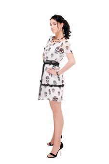 Beautiful Model In  Dress On White