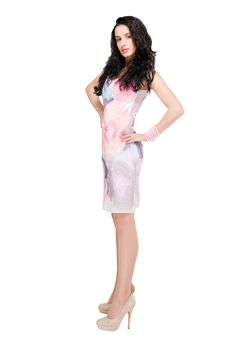 Free Beautiful Model In  Dress On White Stock Photography - 14309762