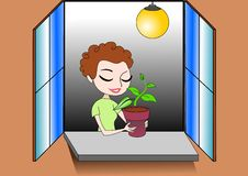 Free Illustration Of Girl Keeping A Plant In A Pot Royalty Free Stock Photos - 14309948