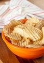 Free Potato Chips In Orange Bowl Stock Image - 14314061