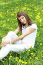 Free Girl On The Glade With Dandelions Royalty Free Stock Images - 14316929