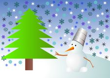 Illustration Vector Of Christmas Tree And Snowman Stock Image