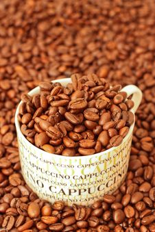 Free Coffee Beans In A Cappuccino Cup Stock Images - 14310424