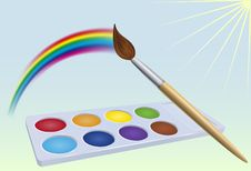 Colour-box, Rainbow,  Brush And Sun Stock Image