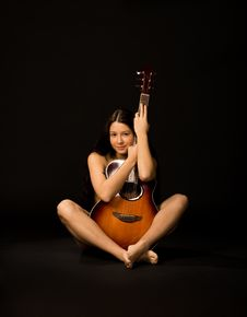 Attractive Girl With  Guitar Stock Image