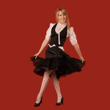 Free Attractive Girl Dancing In Fashionable Clothes Royalty Free Stock Images - 14312929