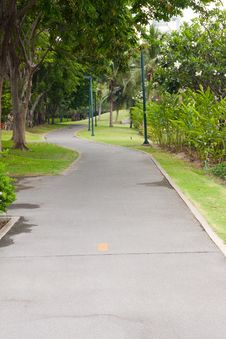 Curve Sidewalk In The Park Royalty Free Stock Photo