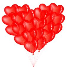 Bunch Of Red Heart Shape Balloons. Vector Royalty Free Stock Photos
